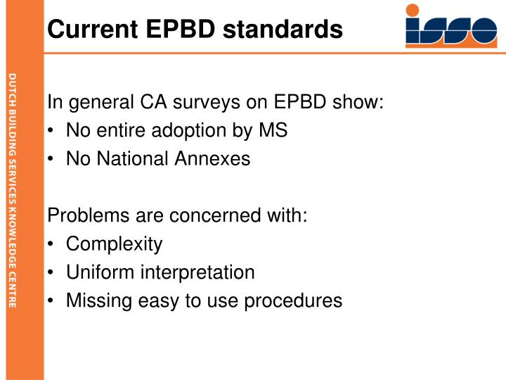 Current EPBD standards