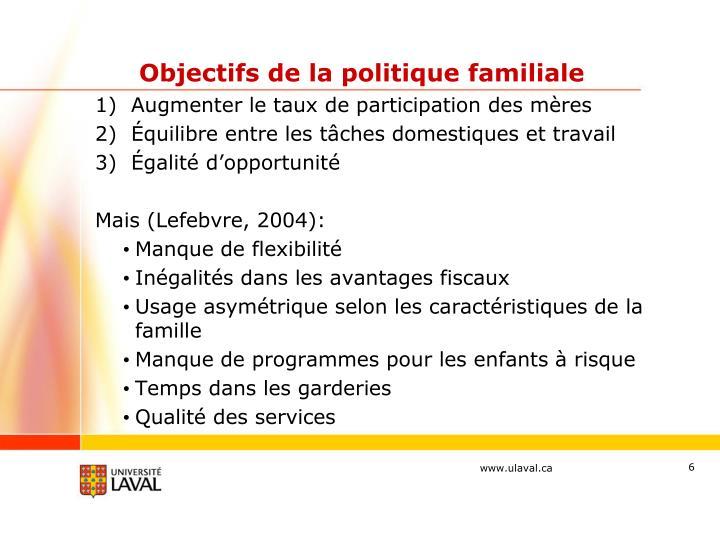 Objectifs de la politique familiale