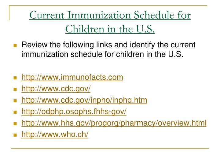 Current Immunization Schedule for Children in the U.S.