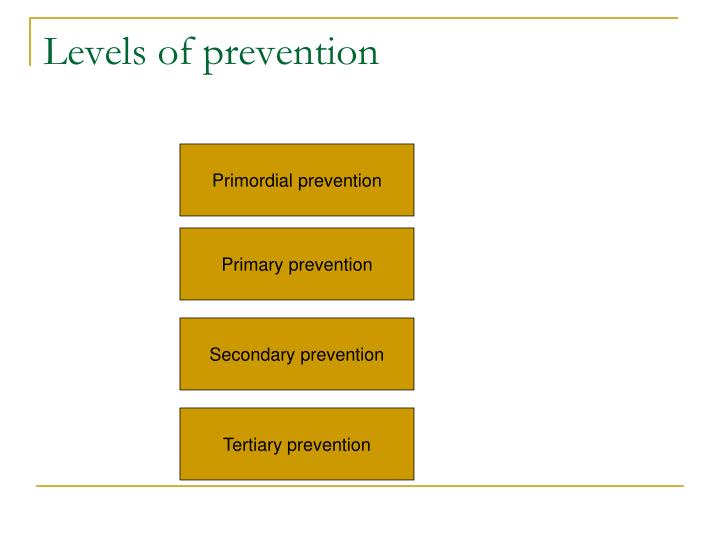 Levels of prevention