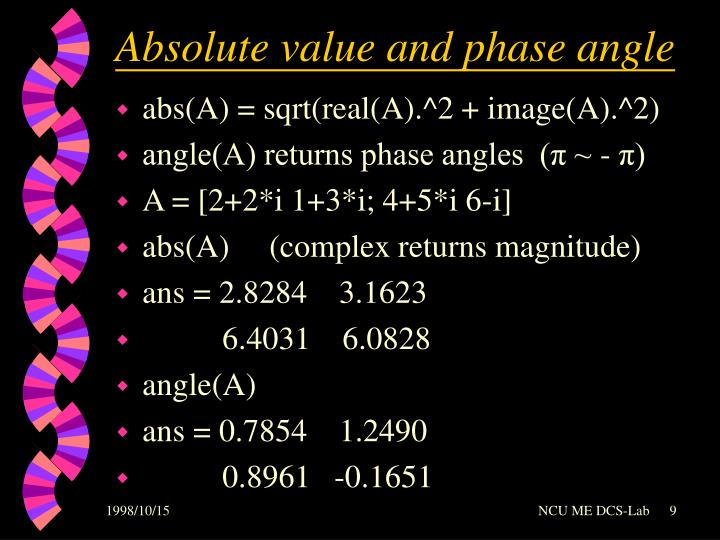 Absolute value and phase angle