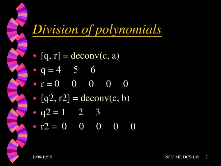 Division of polynomials