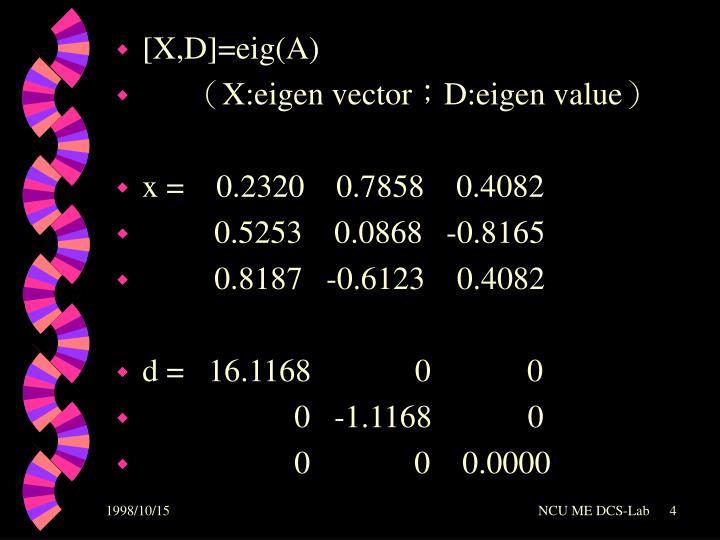 [X,D]=eig(A)