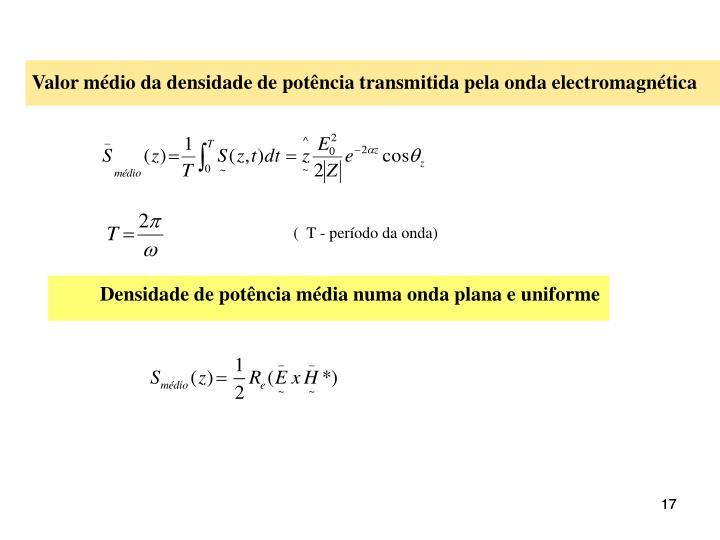 Valor médio da densidade de potência transmitida pela onda electromagnética