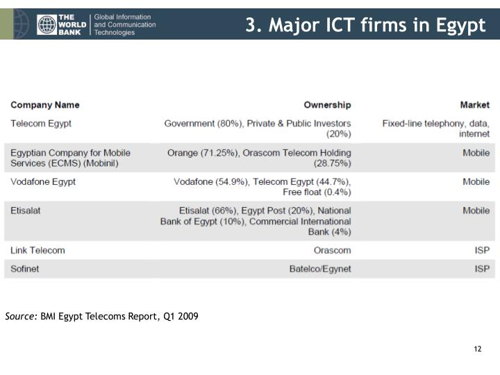 3. Major ICT firms in Egypt
