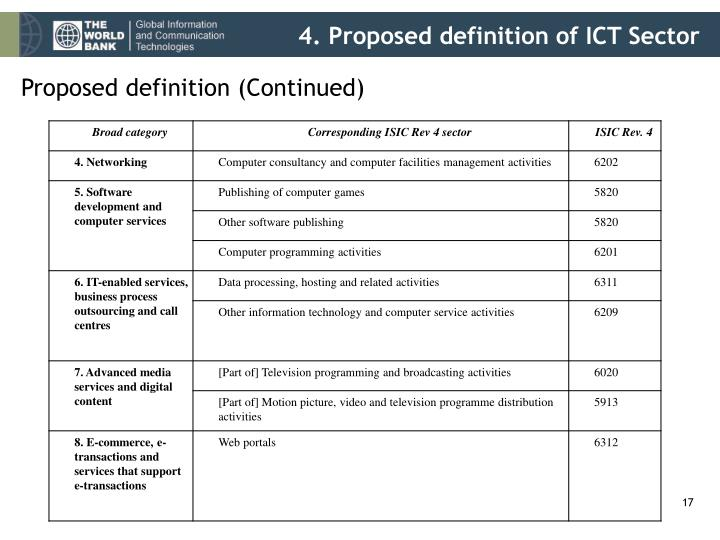4. Proposed definition of ICT Sector