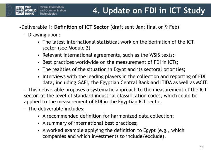 4. Update on FDI in ICT Study