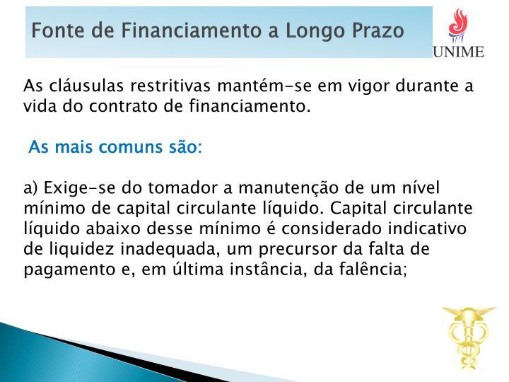 Fonte de Financiamento a Longo Prazo