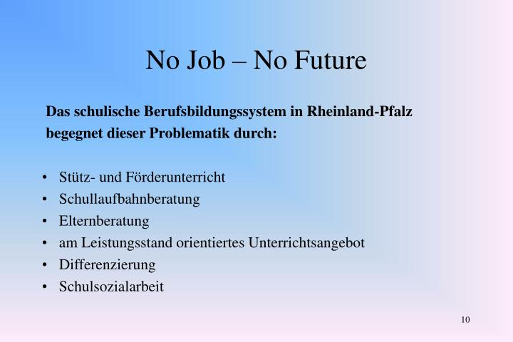No Job – No Future