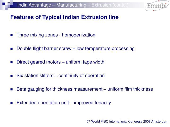 India Advantage – Manufacturing – Extrusion (contd.)