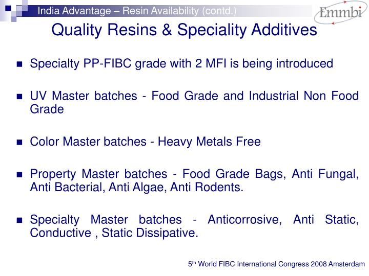 India Advantage – Resin Availability (contd.)