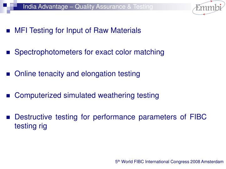 India Advantage – Quality Assurance & Testing