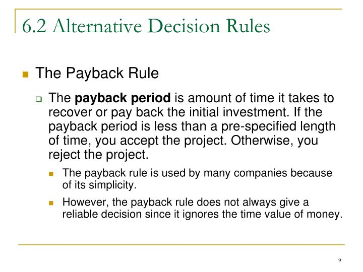 6.2 Alternative Decision Rules