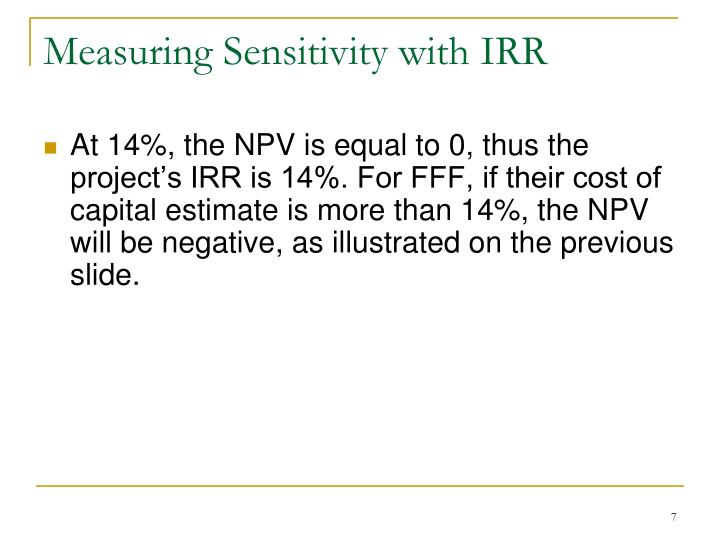 Measuring Sensitivity with IRR