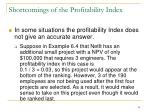 shortcomings of the profitability index