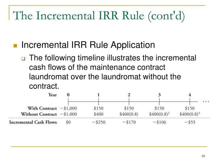 The Incremental IRR Rule (cont'd)