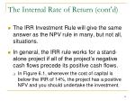 the internal rate of return cont d