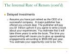 the internal rate of return cont d2