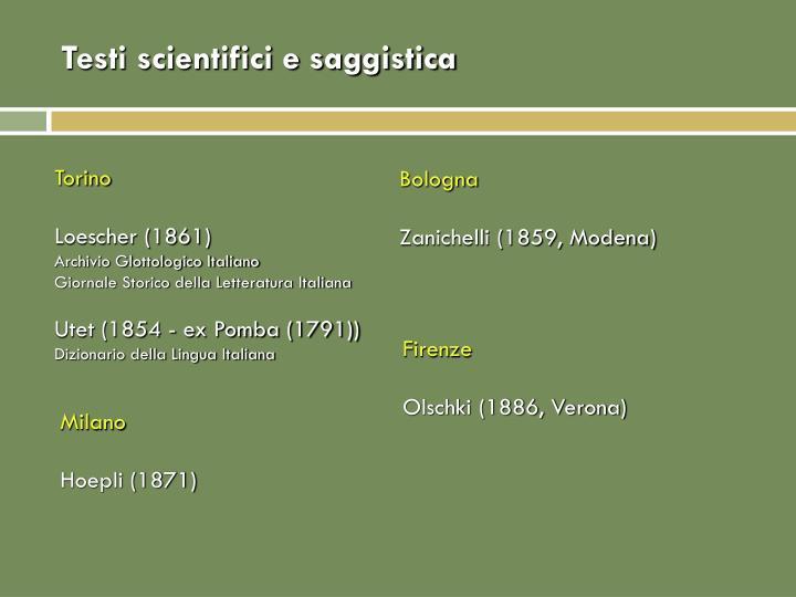 Testi scientifici e saggistica