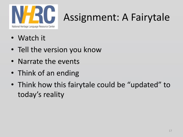 Assignment: A Fairytale