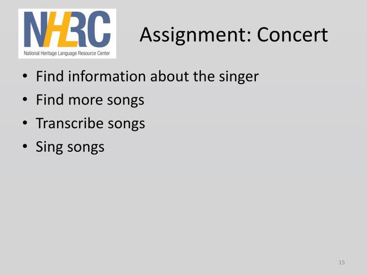 Assignment: Concert