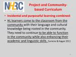project and community based curriculum