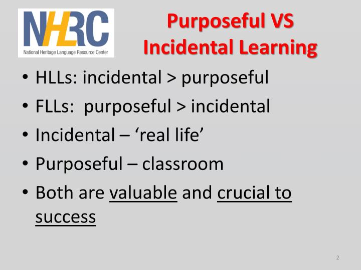 Purposeful VS Incidental Learning