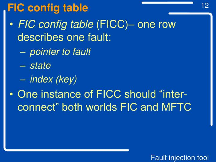 FIC config table