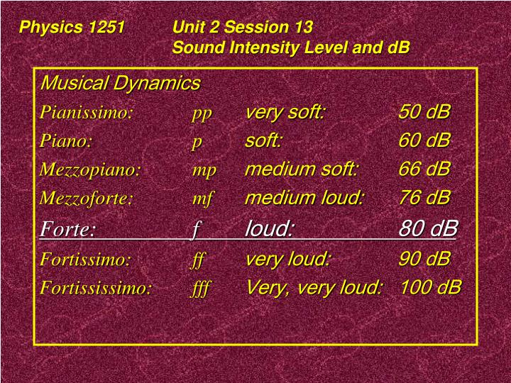 Physics 1251Unit 2 Session 13