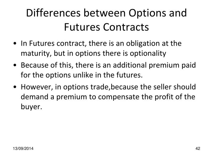 Differences between Options and Futures Contracts