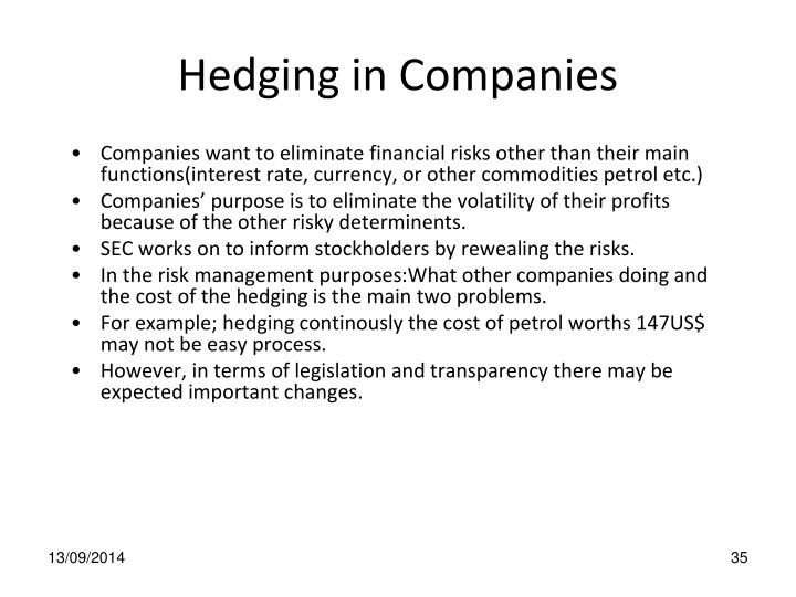 Hedging in Companies