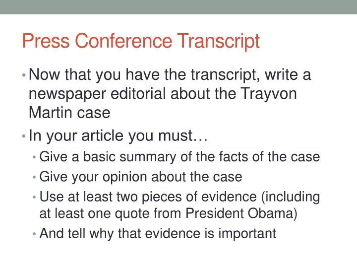 Press Conference Transcript