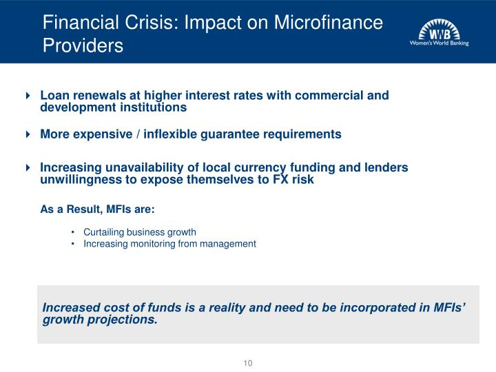 Financial Crisis: Impact on Microfinance Providers