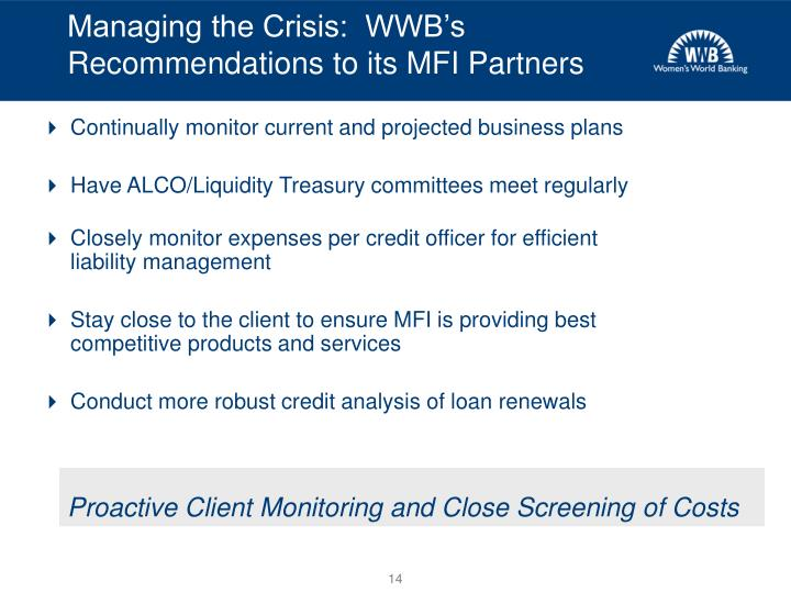 Managing the Crisis:  WWB's Recommendations to its MFI Partners
