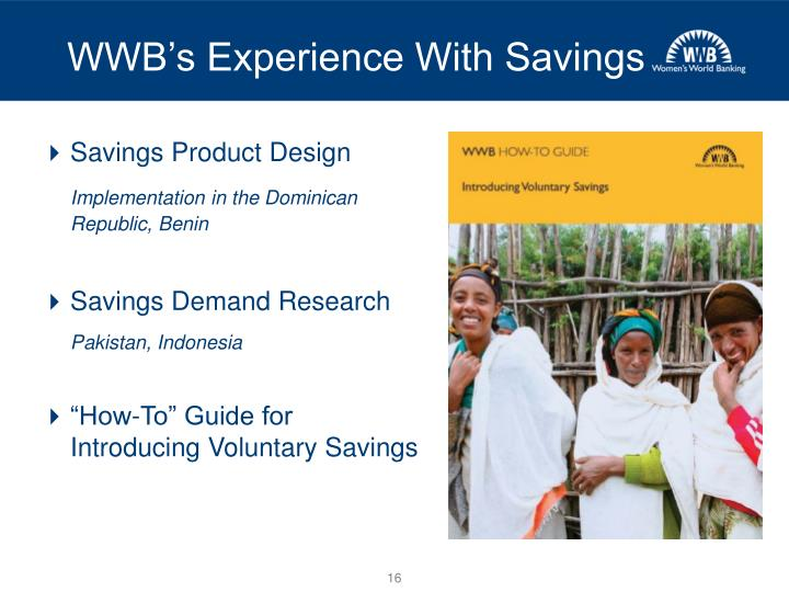 WWB's Experience With Savings