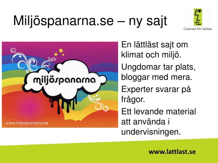 Miljöspanarna.se – ny sajt