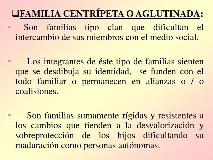 FAMILIA CENTRÍPETA O AGLUTINADA