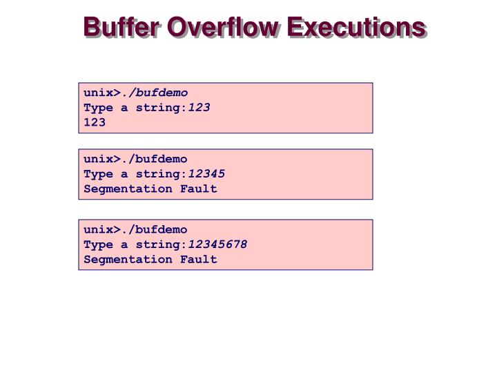 Buffer Overflow Executions