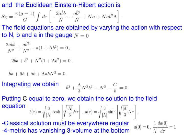 and  the Euclidean Einstein-Hilbert action is