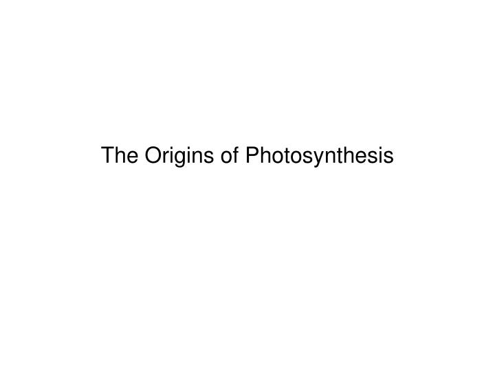 The origins of photosynthesis