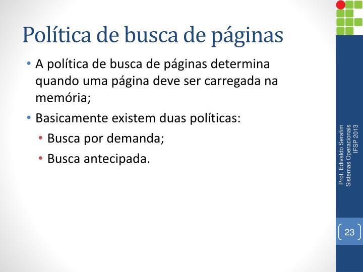 Política de busca de páginas