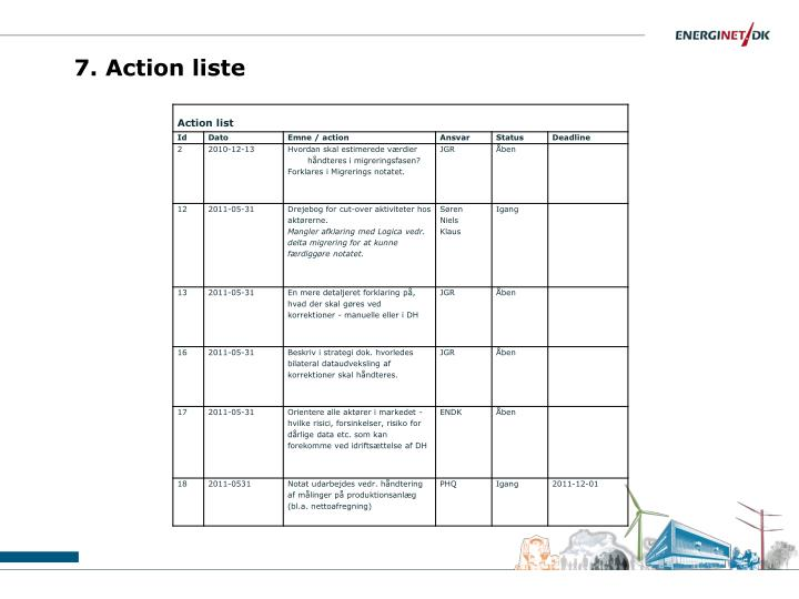 7. Action liste