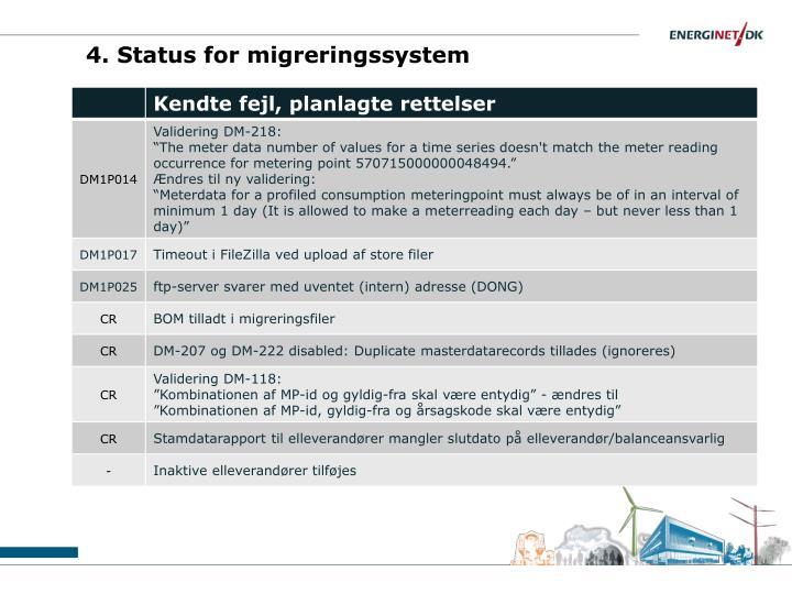 4. Status for migreringssystem