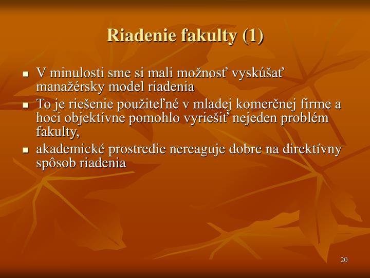 Riadenie fakulty (1)