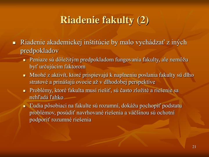 Riadenie fakulty (2)