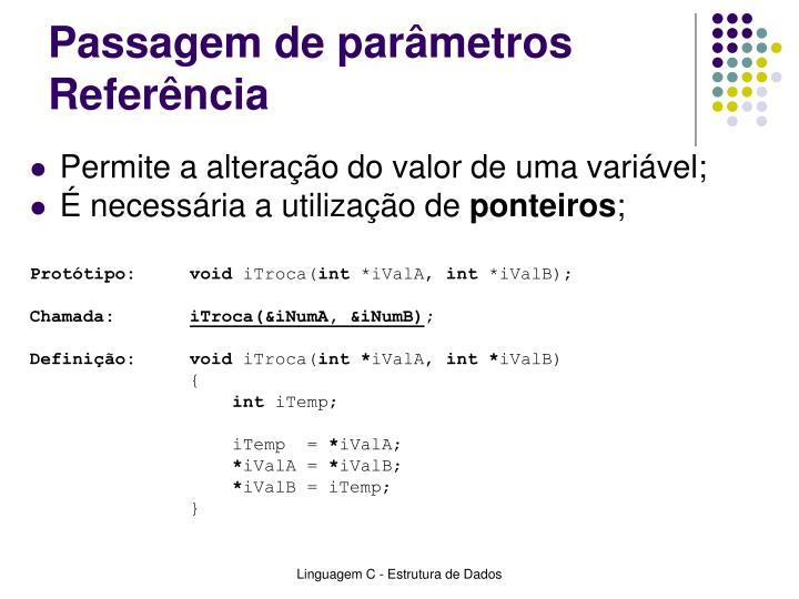 Passagem de parâmetros Referência
