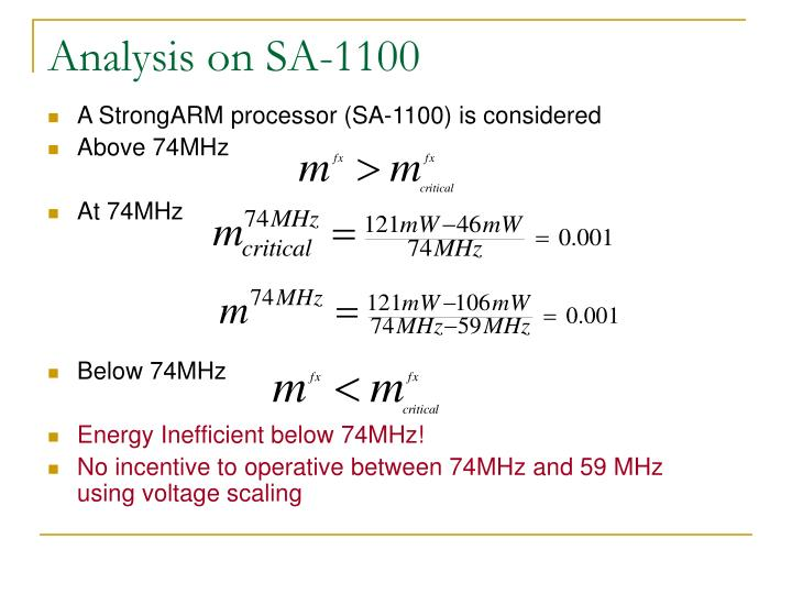 Analysis on SA-1100