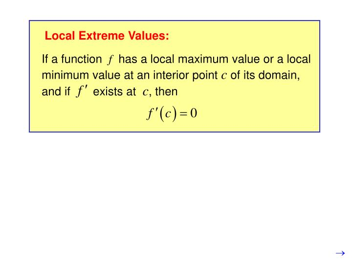 Local Extreme Values: