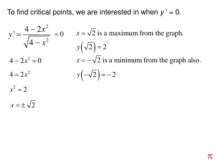 To find critical points, we are interested in when