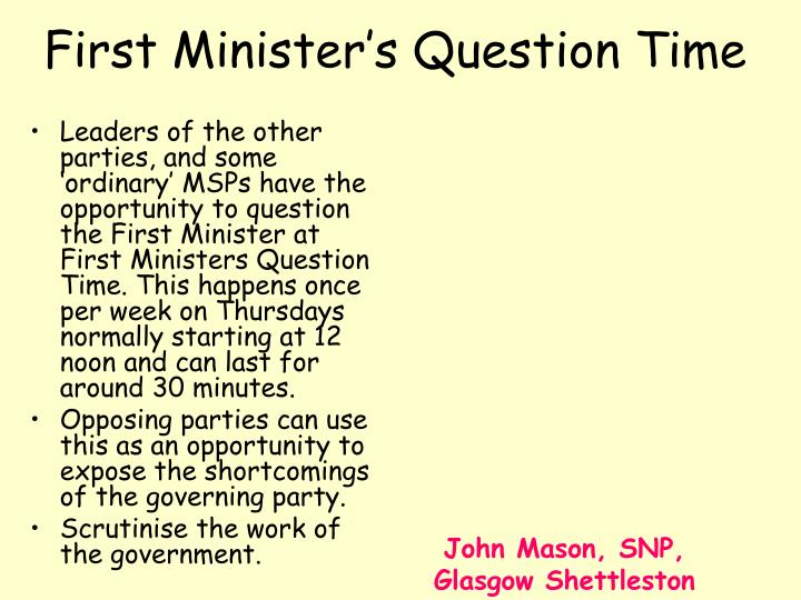First Minister's Question Time